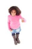 Adorable Afroamerican girl top view saying Ok Royalty Free Stock Photos