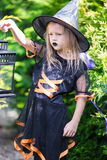 Adorable amasing little girl wearing witch costume Stock Photos