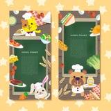 Adorable animal banner set Stock Image