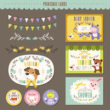 Adorable animal characters baby shower cards Royalty Free Stock Photo
