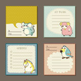 Adorable animal characters memo pads Stock Photos