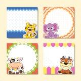 Adorable animal memo pads set Stock Images