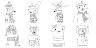 Vector christmas animals silhouette collection illustration in line art with eight animals wearing winter clothes. cute xmas set. Adorable animal outlines royalty free illustration