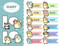 Adorable animal zodiac memos set Stock Photography