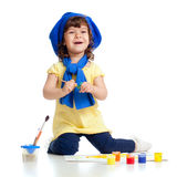 Adorable artist kid drawing and painting Royalty Free Stock Images