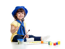 Adorable artist kid drawing and painting Royalty Free Stock Image