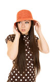 Adorable Asian American teen girl wearing polka dot dress Royalty Free Stock Photo