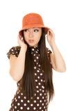 Adorable Asian American teen girl wearing polka dot dress Royalty Free Stock Photo