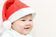 Adorable asian baby cute girl smiling with copy space in Christm Royalty Free Stock Photography