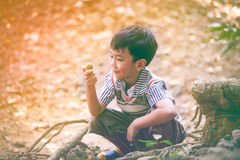 Adorable asian child playing outdoors at the summer day on vacat. Portrait of cute asian child playing outdoors at the summer day with bright sunlight on blurred Stock Image