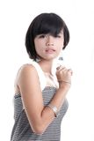 Adorable asian girl. Close up on white background Royalty Free Stock Image