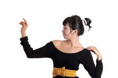 Adorable asian girl. Sitting ob white background Stock Image