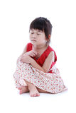 Adorable asian girl with closed eyes. Isolated on white backgrou Royalty Free Stock Images