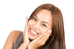 Adorable Asian Girl Hands Cupping Face Smiling Royalty Free Stock Photography