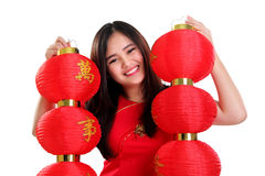 Adorable Asian girl wih red lanterns isolated Stock Photo