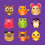 Adorable Baby Animals In Girly Design. Set Of Bright Color Vector Icons  On Dark Background. Cute Childish Animal Characters Design Stock Images