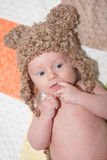 Adorable Baby in Bear Hat. Cute baby wearing knit bear hat. Image orientation is vertical Royalty Free Stock Images