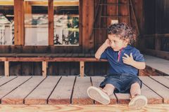 Adorable, Baby, Bench Stock Photography