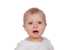 Adorable baby with blond hair Royalty Free Stock Image