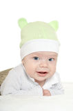 Adorable baby boy  on blanket. In cute clothes on a white background Royalty Free Stock Image