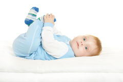 Adorable baby boy on blanket Royalty Free Stock Images