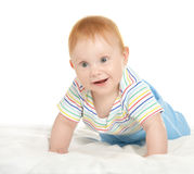 Adorable baby boy on blanket. On a white background Stock Photo