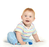 Adorable baby boy on blanket. On a white background Stock Image