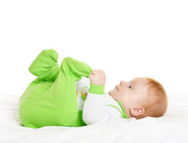 Adorable baby boy on blanket. Adorable baby boy  on blanket on a white background Stock Images