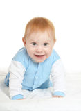 Adorable baby boy on blanket. On a white background Royalty Free Stock Photos