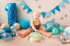 Adorable Baby Boy Celebrating His First Birthday. Smash Cake Stock Photography