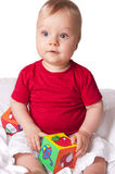 Adorable baby boy with colorful blocks Stock Image