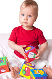 Adorable baby boy with colorful blocks Royalty Free Stock Photography