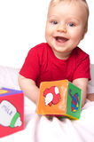 Adorable baby boy with colorful blocks Stock Images