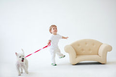 Adorable baby boy with dog. Adorable baby boy with white dog royalty free stock photo