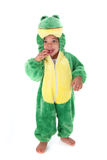 Adorable baby boy dressed as a frog Stock Photo