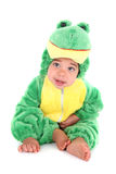 Adorable baby boy dressed as a frog Stock Photos