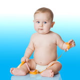Adorable Baby Boy with a measuring tape.  Stock Image