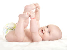Adorable baby boy  in pampers Royalty Free Stock Photography