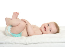 Adorable baby boy in pampers Stock Photography