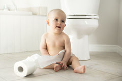 Adorable baby boy playing with toilet paper Royalty Free Stock Image