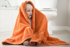 Adorable baby boy playing with toilet paper Stock Photography