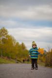 Adorable baby boy playing with yellow leave in autumn park Royalty Free Stock Photo