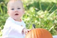 Adorable Baby Boy with Pumpkin Royalty Free Stock Photo