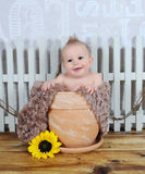 Adorable baby boy sitting in clay flower pot Royalty Free Stock Photos