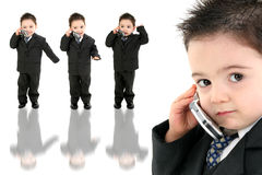 Adorable Baby Boy in Suit on Cellphone Stock Image