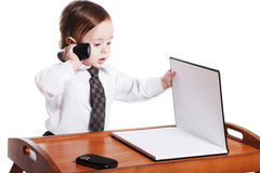 Adorable baby businessman with phone. Isolated Royalty Free Stock Image
