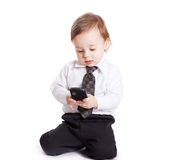 Adorable baby businessman with phone Royalty Free Stock Image
