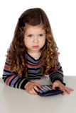Adorable baby with a calculator Royalty Free Stock Photography