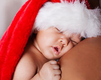 Adorable Baby in Christmas Santa Hat Royalty Free Stock Image