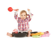 Adorable baby cook with pan. Bright picture of adorable baby cook with pan Royalty Free Stock Images